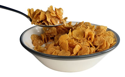 This is an average does of Corn Flakes, notice how small the bowl is in comparason to the spoon?